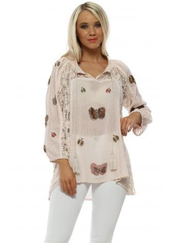 Blush Pink Beaded Butterfly Top