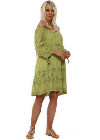 Lime Green Broderie Anglaise Bardot Dress