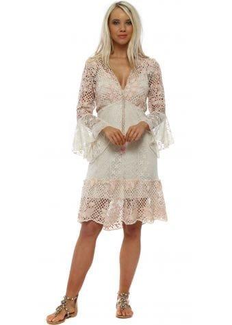 Pink & Cream Lace Tiered Midi Dress
