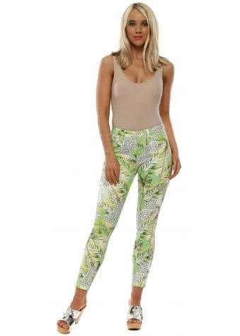 Green Palm Print Stretch Fit Jeans
