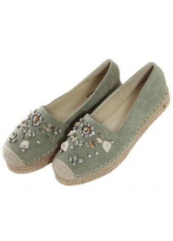 Green Suede Crystal & Shell Espadrilles