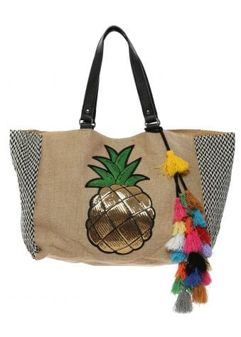 Gold Pineapple Oversized Tote Bag With Tassels