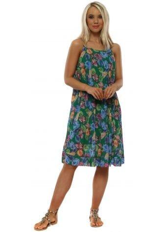 Green Floral Pleated Chiffon Swing Dress