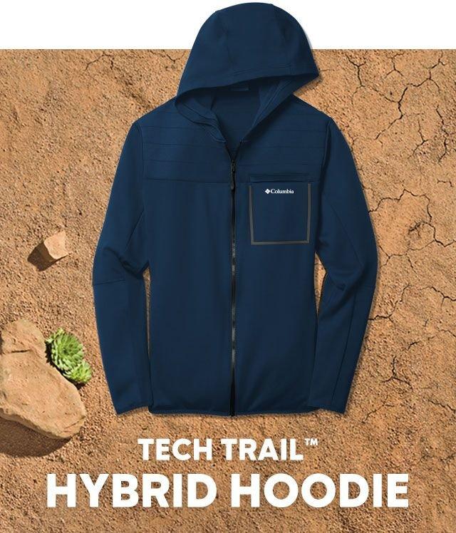 A Tech Trail Hoodie laying on the desert, Tech Trail Hybrid Hoodie.