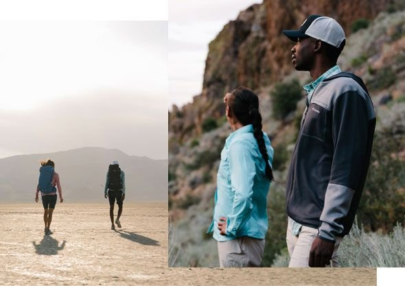 A collage of a man and a woman hiking.