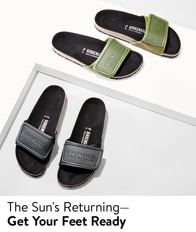 The sun's returning—get your feet ready: men's slide sandals.