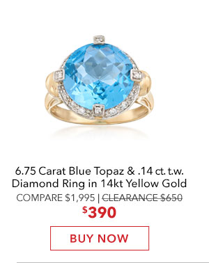Blue Topaz & Diamond Ring. Buy Now