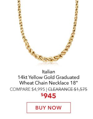 Gold Wheat Chain Necklace. Buy Now