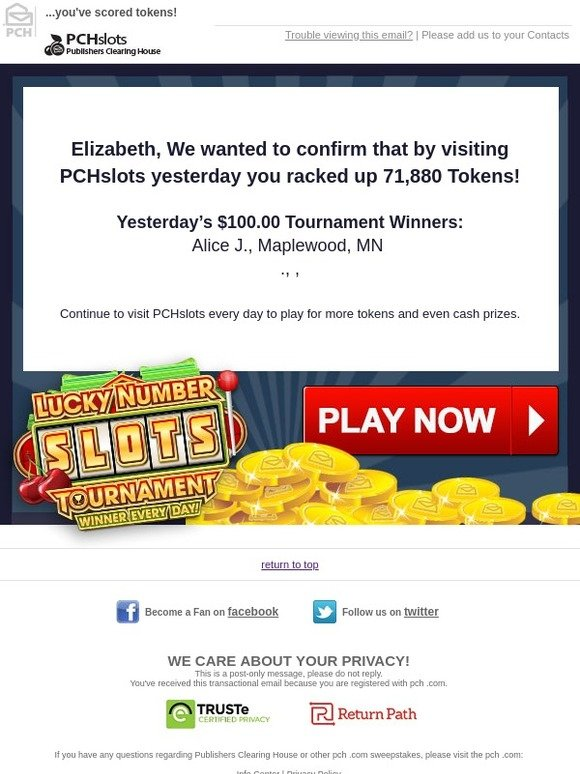 Publishers Clearing House: Elizabeth, Due to your recent