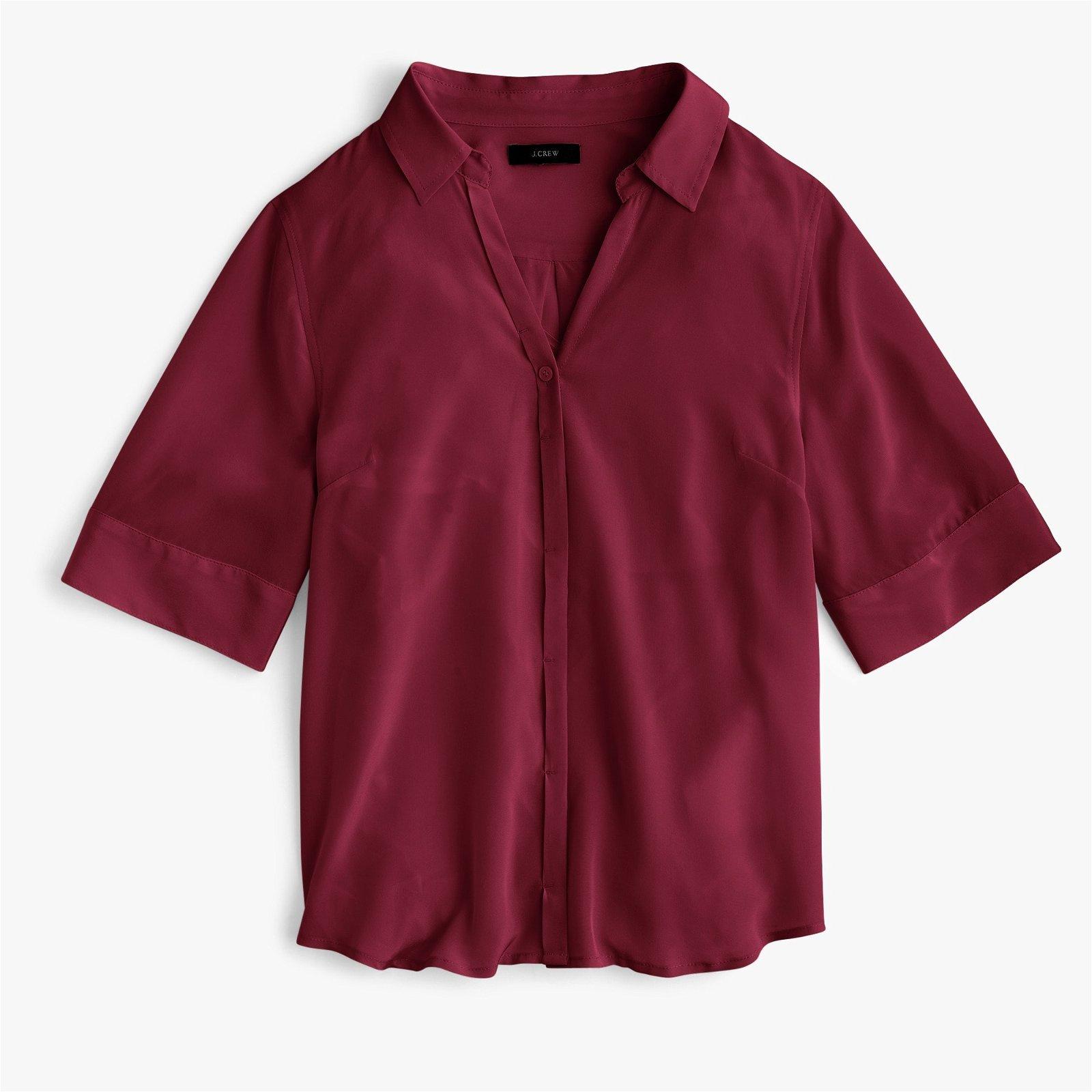 Classic Short-sleeve button-up shirt in silk