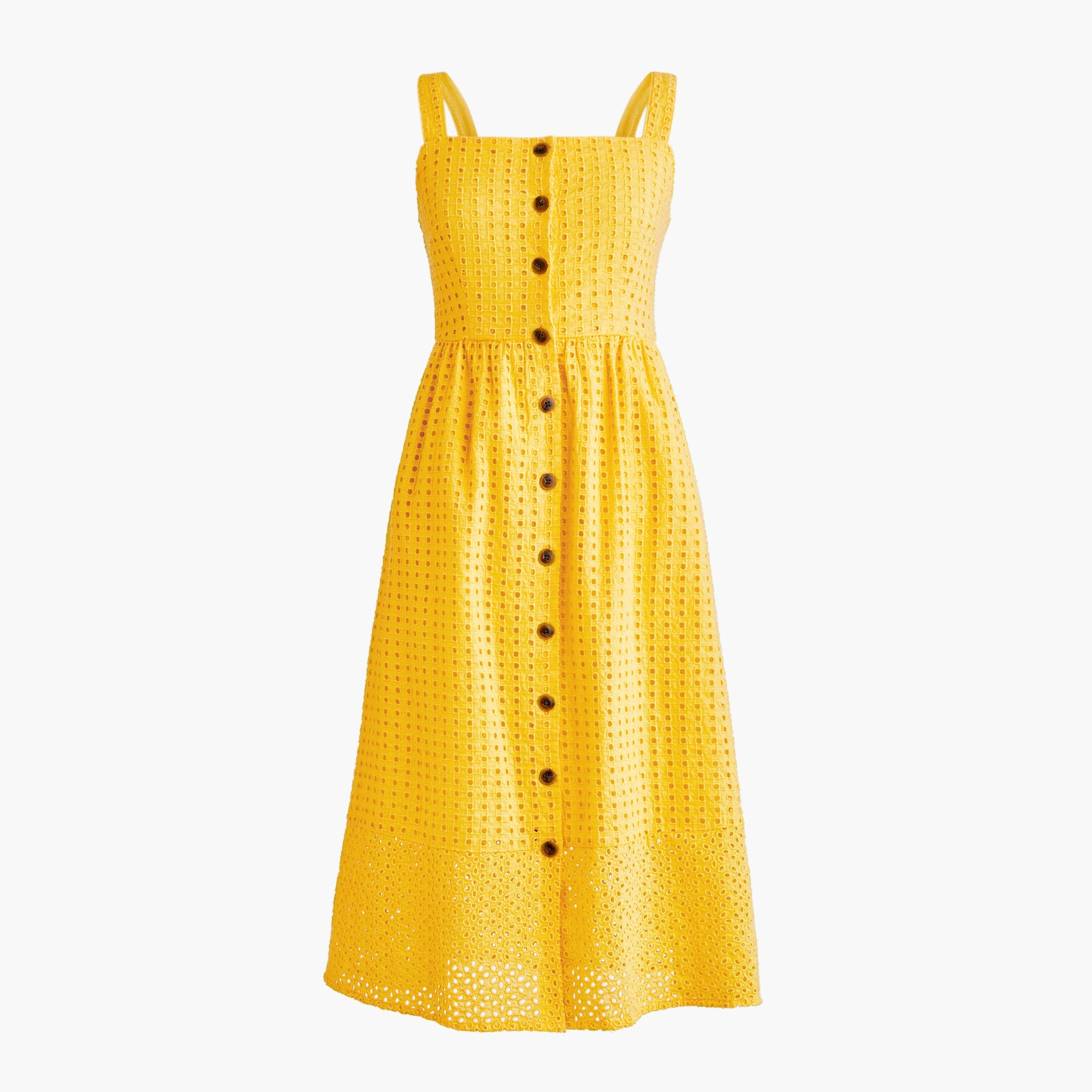 Classic button-front midi sundress in contrast embroidered eyelet