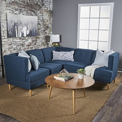 Milltown Mid Century Modern Fabric 5 Piece Sectional Sofa Set