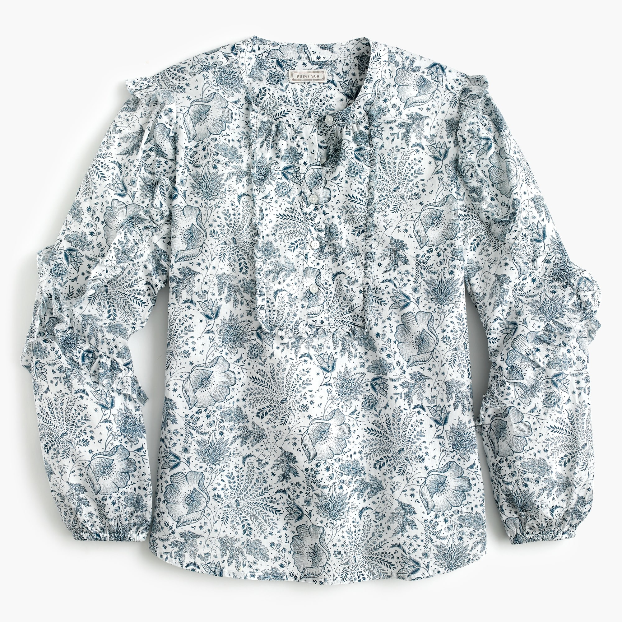 Point Sur ruffle-sleeve popover shirt in blue botanical field