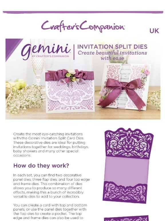 *NEW 2019* GEMINI Create A Card Invitation Split Card Dies by Crafters Companion