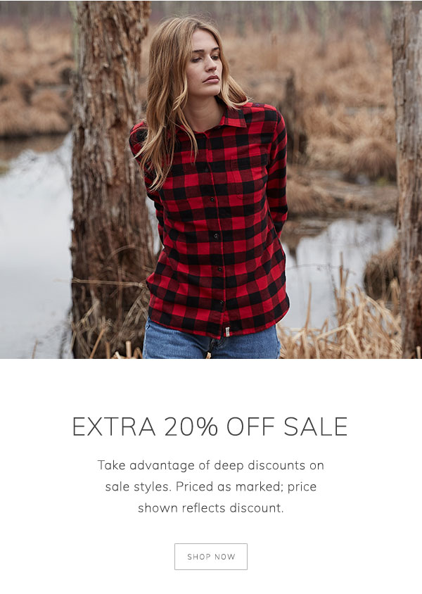 Extra 20% off sale. Take advantage of deep discounts on sale styles. Priced as marked; price shown reflects discount. Shop now.