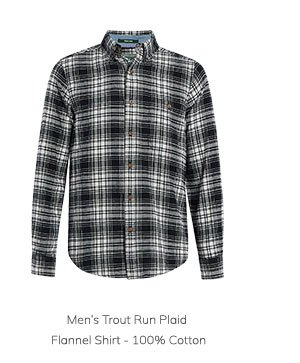 Men's Trout Run Plaid Flannel Shirt – 100% Cotton