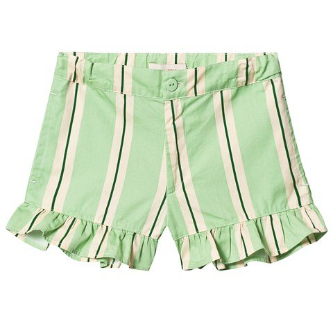 Tinycottons Emerald And Cream Retro Stripes Frill Shorts