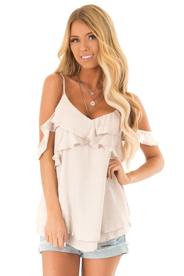 3654eb0f326 Champagne Cold Shoulder Top with Ruffle Details ...
