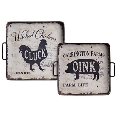 Metal Square Tray With Wooden Farmhouse Theme Surface, Set of 2, Galvanized Gray