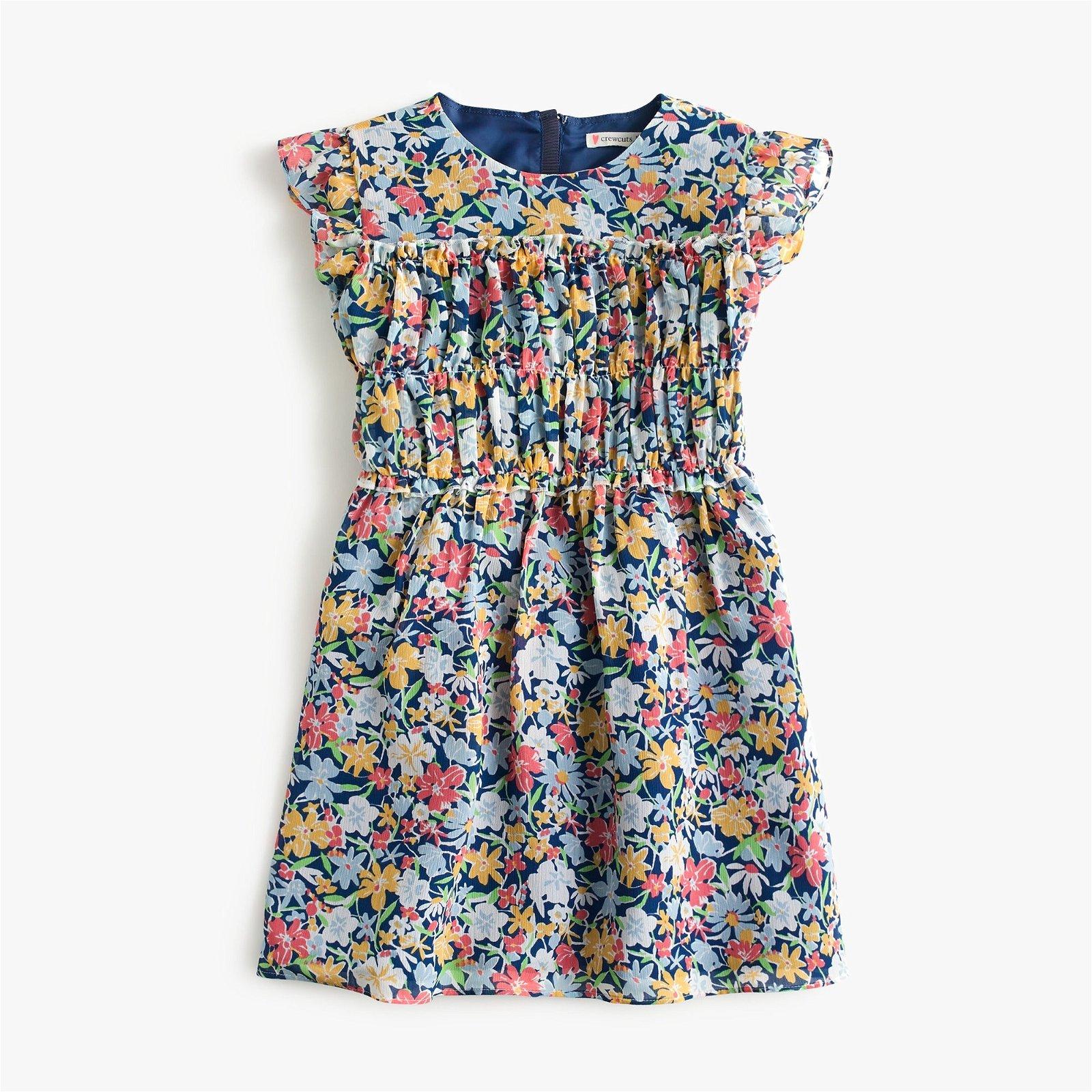 Girls' smocked-waist dress in blue floral