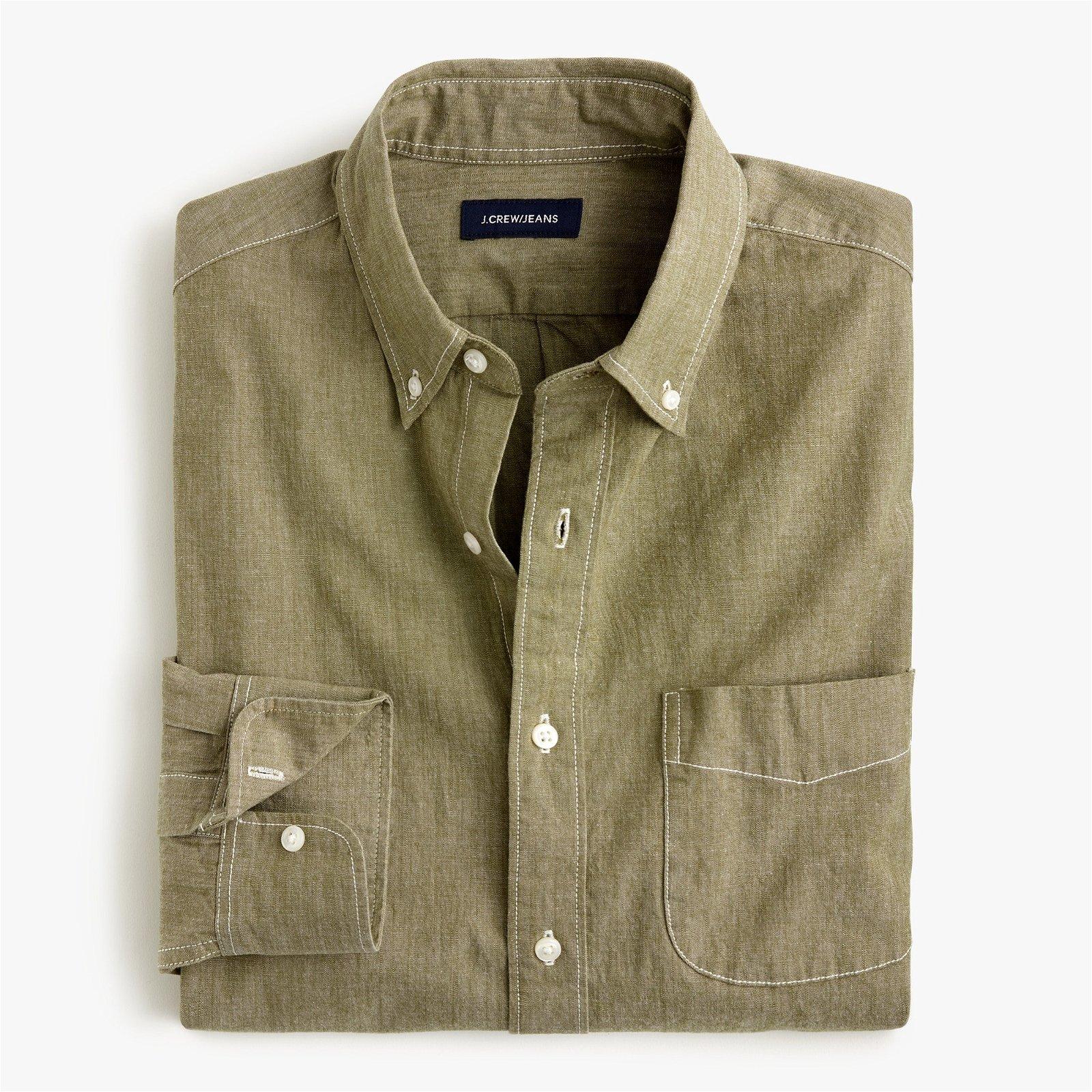 Slim stretch colored chambray shirt