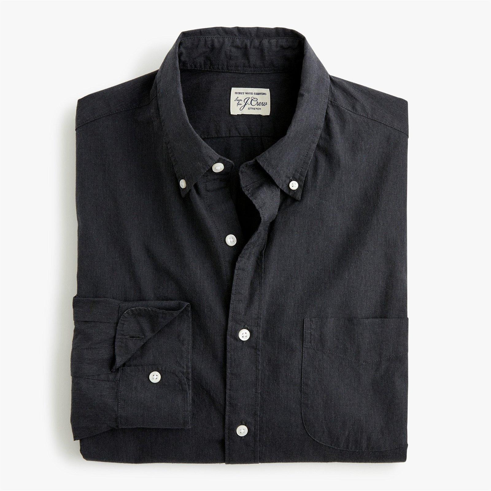 Slim stretch Secret Wash shirt in solid heathered poplin
