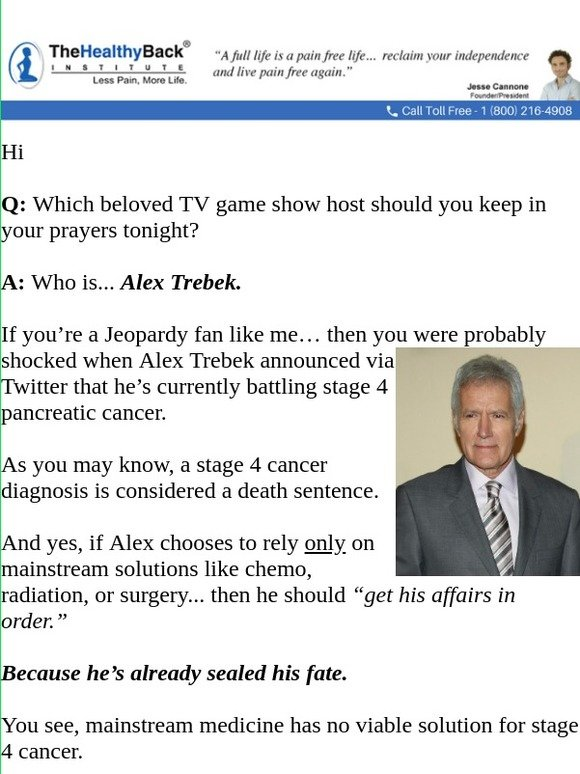 Lose The Back Pain: YES    Alex Trebek CAN beat stage 4