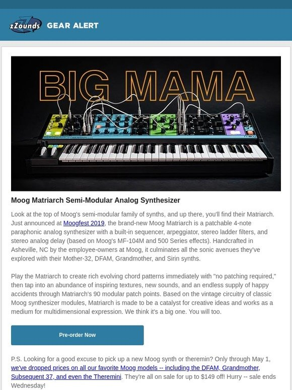 zZounds: Say Hello to Moog's Biggest Mama | Milled