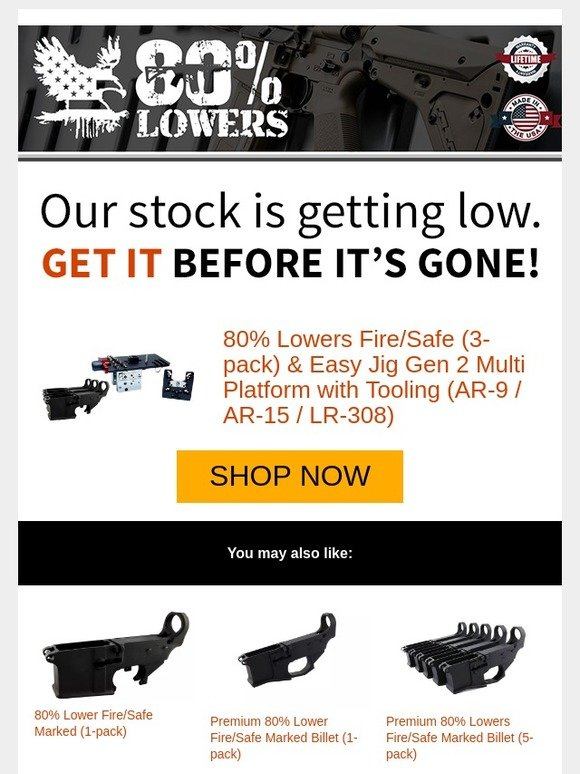 80 Lowers: 80% Lowers Fire/Safe (3-pack) & Easy Jig Gen 2