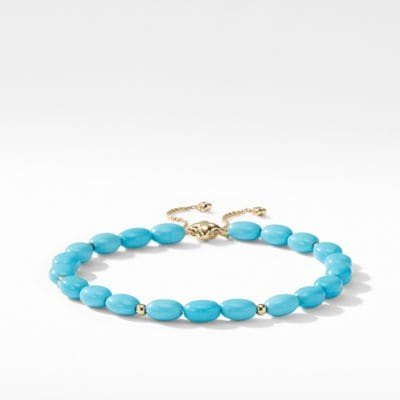 Spiritual Bead Bracelet with Reconstituted Turquoise and 18K Yellow Gold
