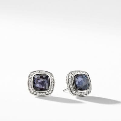 Albion Earrings with Black Orchid and Diamonds, 7mm