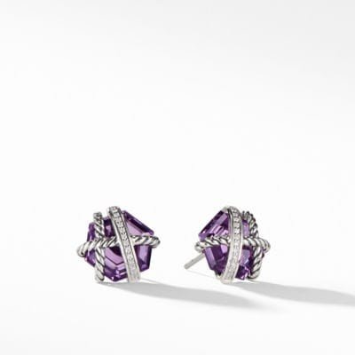 Cable Wrap Earrings with Amethyst and Diamonds, 10mm