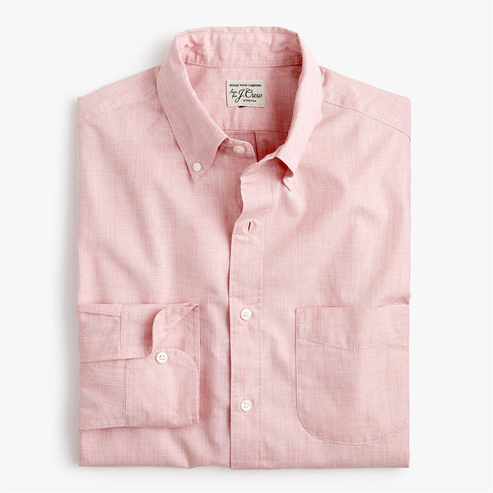 Untucked stretch secret Wash shirt in solid heathered poplin