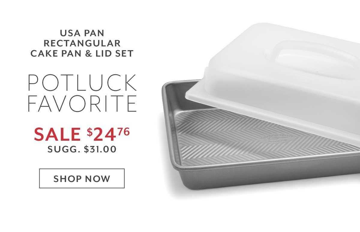 USA Pan Rectangular Cake Pan & Lid Set