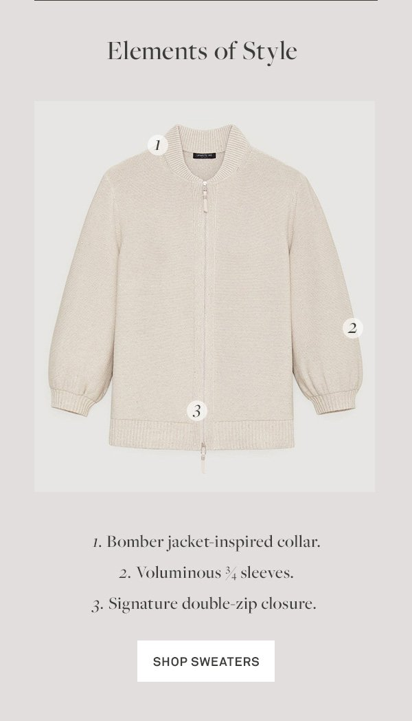 Elements of Style - 1. Bomber jacket-inspired collar. - 2. Voluminous ¾ sleeves. - 3. Signature double-zip closure. - [Shop Sweaters]