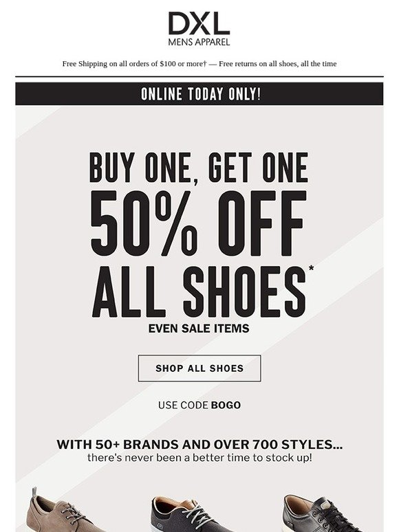 39b25290135 Destination XL: BOGO 50% OFF 100s of Shoes Today Only! | Milled