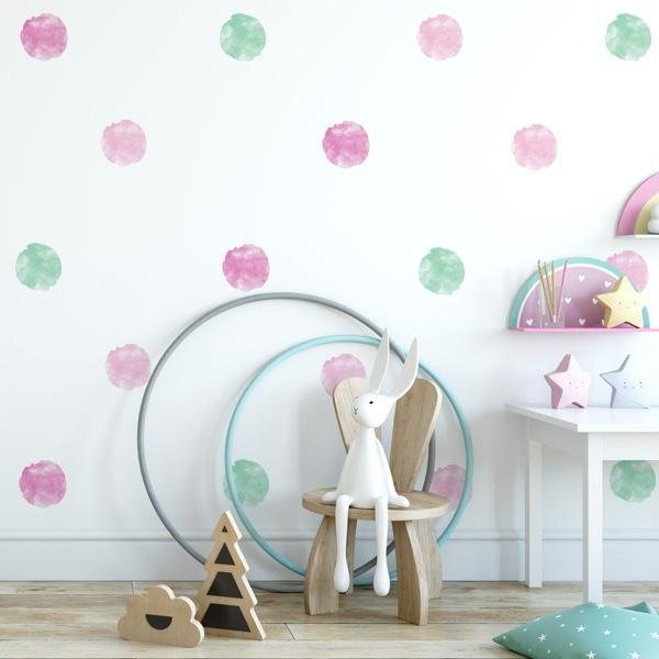 Image of Watercolor Polka Dot Wall Decals