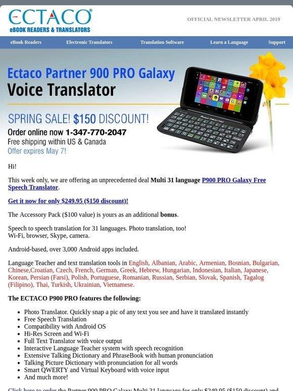 ECTACO Partner 900 PRO Polish English Voice Translator and Language Teacher