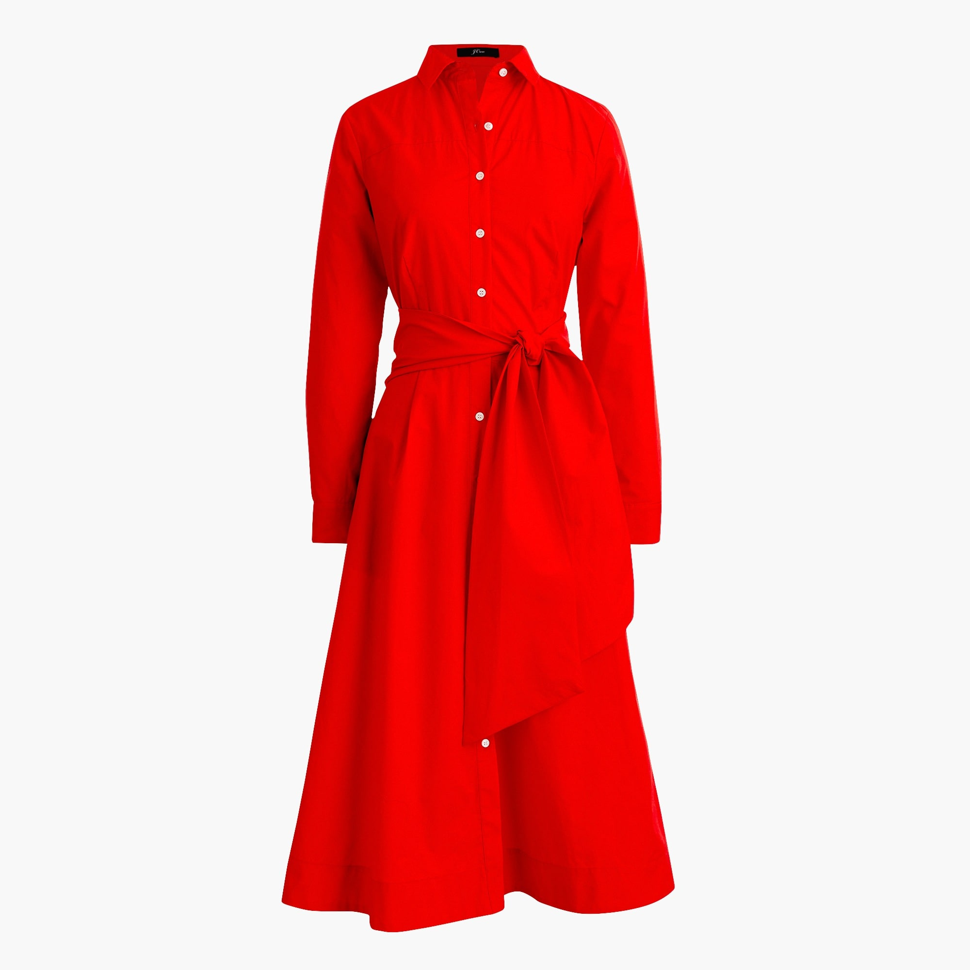 Tie-waist shirtdress in cotton poplin