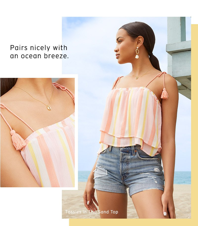 Shop tassles in the sand top.