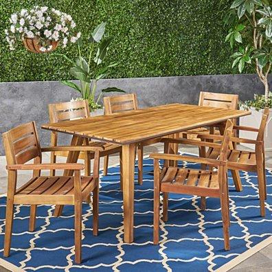 Renee Outdoor 7 Piece Acacia Wood Dining Set, Teak and Dark Brown