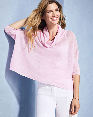 Linen Drape Neck Sweater