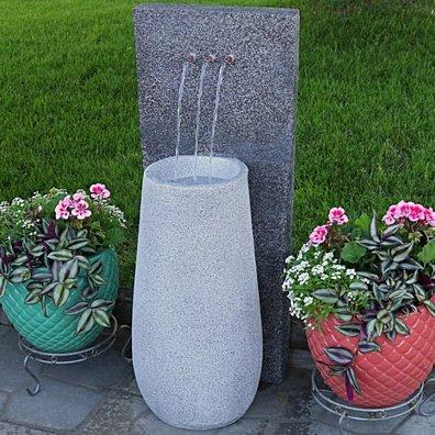 Sunnydaze Three Stream Monterno Outdoor Garden Water Fountain with LED Light, 35 Inch Tall