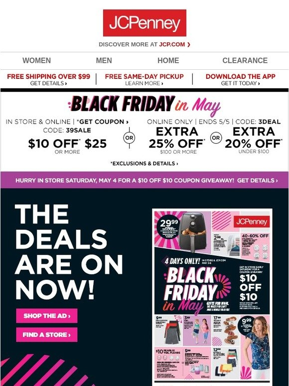 JC Penney: Black Friday in May is here! Shop our weekly