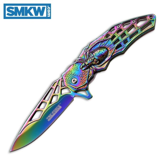 """MASTER CUTLERY TAC-FORCE SPRING ASSISTED LINERLOCK WITH RAINBOW COATED STAMPED SPIDERWEB HANDLE AND STAMPED SPIDERWEB RAINBOW COATED STAINLESS STEEL 3.75"""" PLAIN EDGE DROP POINT BLADE MODEL TF-856RB"""