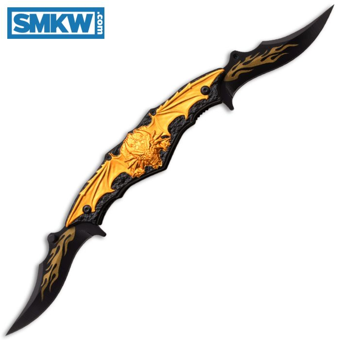 """DARK SIDE BLADES SPRING ASSISTED DRAGON FOLDER WITH BLACK AND GOLD ALUMINUM HANDLE AND BLACK STAINLESS STEEL 3.5"""" CLIP POINT BLADES MODEL DS-A037GD"""