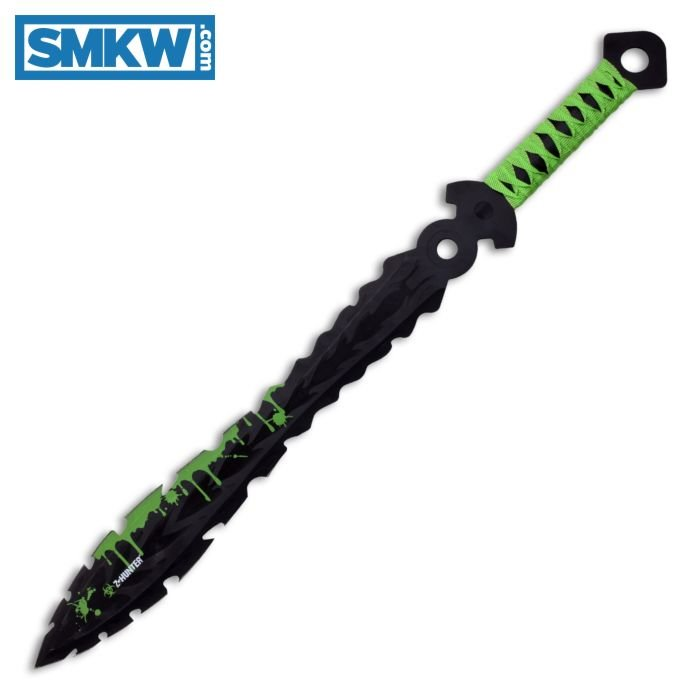 """Z HUNTER DOUBLE EDGED SWORD WITH GREEN FABRIC WRAPPED HANDLE AND BLACK STAINLESS STEEL 18"""" BLADE MODEL ZB-122"""