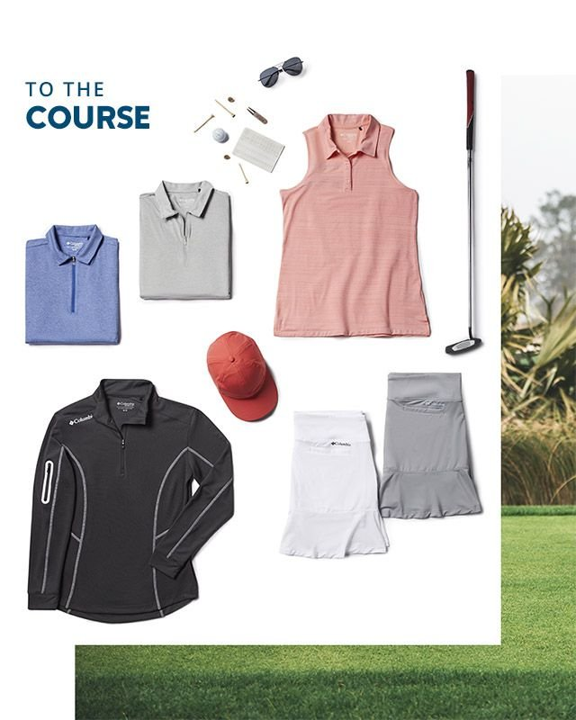 To the course. Assorted Columbia golf gear for women.
