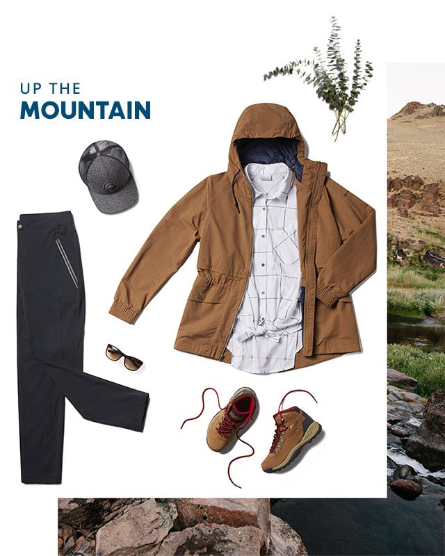 Up the mountain. Assorted hiking gear for women.