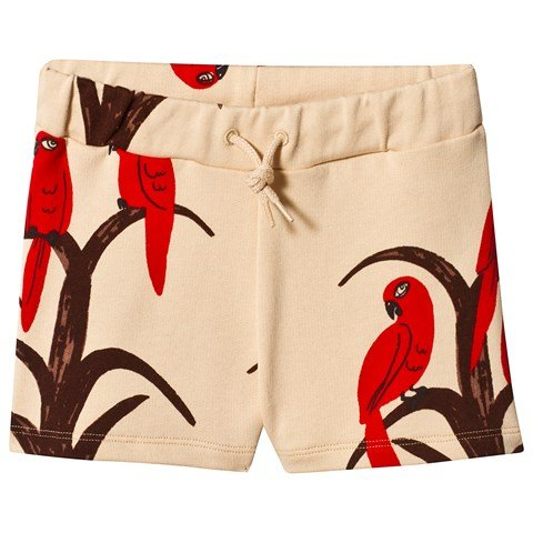 Mini Rodini Peach & Red Parrot Jersey Shorts